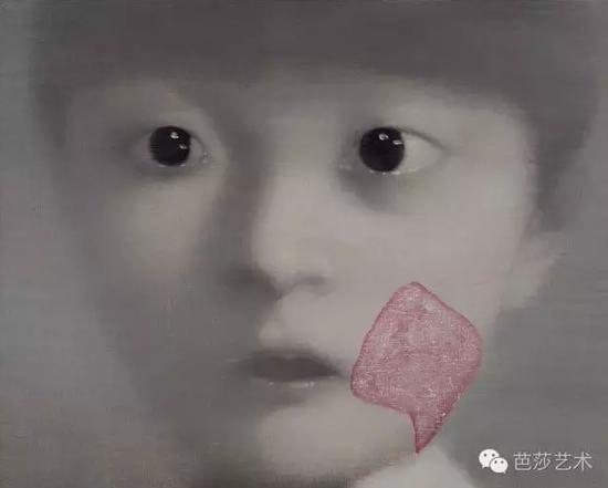 张晓刚《我的女儿1号》,布上油画,40×50cm,2000