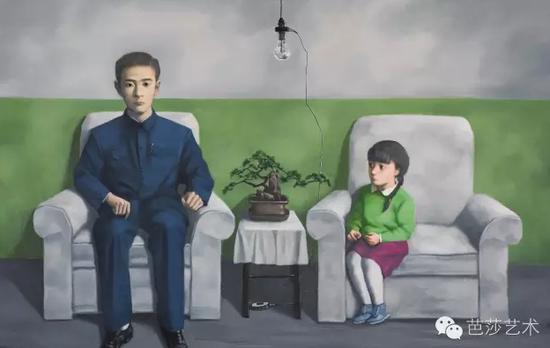 张晓刚《我的父亲》,布面油画,140×220cm,2012