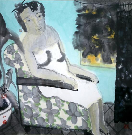 刘庆和,云,纸本设色,70x70cm,1995