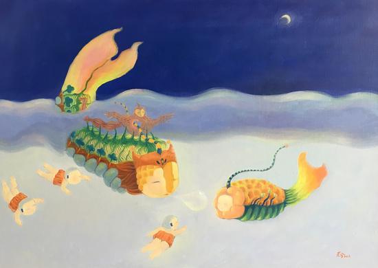 《月夜》,布面油画,50x70cm