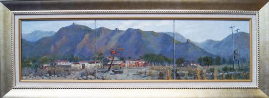 《山脚下的一抹红》,90x24cm,布面油画