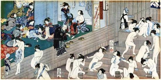 日本旧画中的男女裸体混浴场面