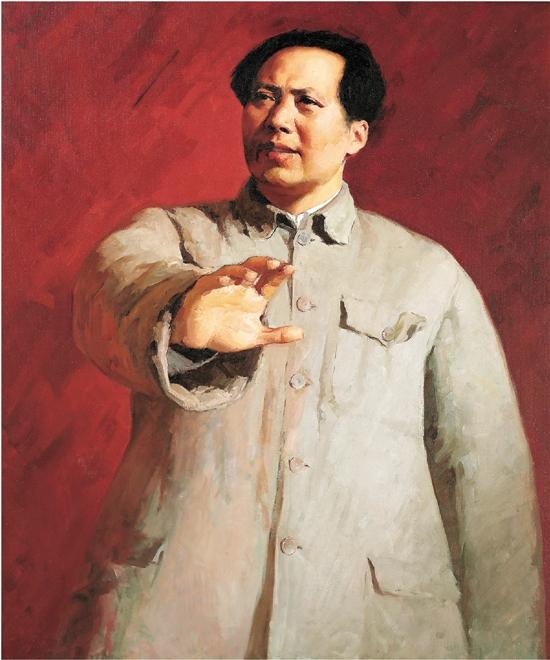 靳尚谊 毛泽东在十二月会议上 158×134cm 1961年 油画