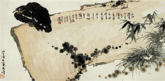 潘天寿 《磐石墨鸡图 》指墨 68×136.5cm 1948年
