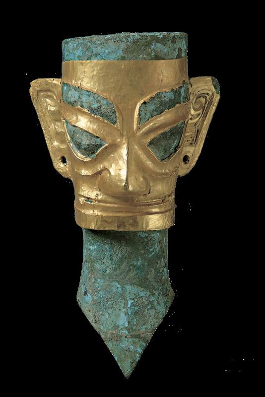 戴金面罩铜人头像