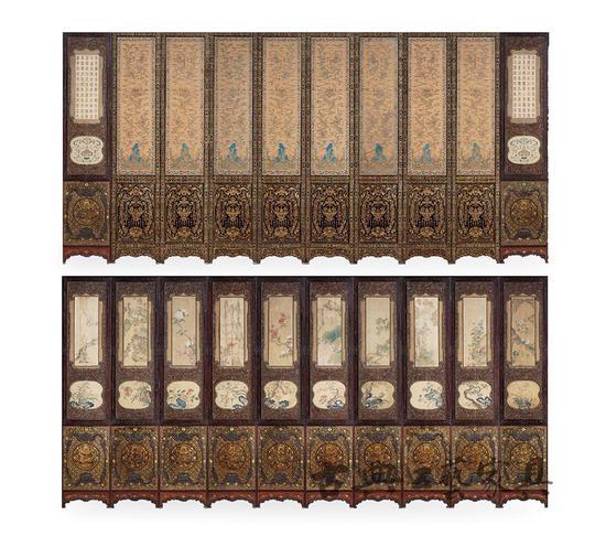 图2 清康熙 硬木镶缂丝绢绘六十寿屏风