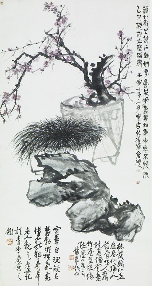 梅花蒲草轴