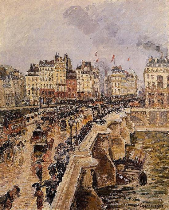 卡米耶·毕沙罗 Camille Pissarro - The Pont Neuf, Rainy Afternoon