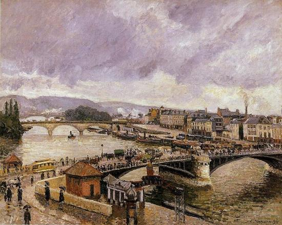 卡米耶·毕沙罗 Camille Pissarro - The Pont Boieldieu, Rouen, Rain Effect