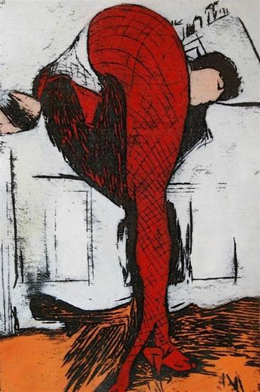 方建喜《无题NO.1》60cm×89cm 木板版画 2009年