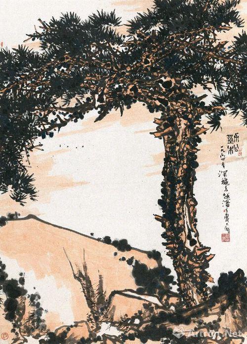 潘天寿《劲松》 1964年 设色纸本,207×151cm