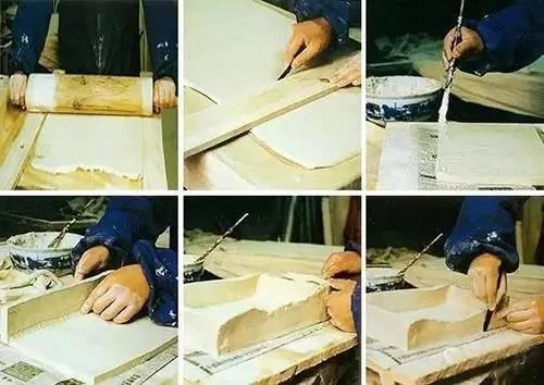 方形瓷盘做坯过程图在这过程中
