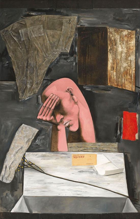 张晓刚 黑色三部曲:忧郁 油彩 拼贴 画布 1990年作 香港佳士得2016春拍 成交价:844万港币