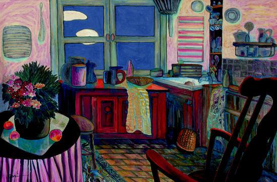杨佴�F《厨房》1998作121×182cm 纸本设色