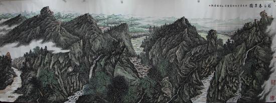 瑶山春早图 230x560cm 2013年