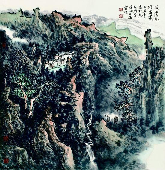 溪山清秋观泉图 68cm x 68cm