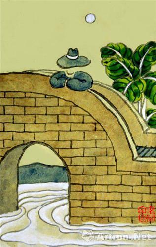 老树作品:忙时像个孙子,闲了也挺无聊。身心没个放处,看水流过小桥