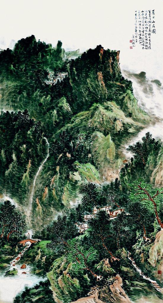 夏日山居图 180×97cm 2007年