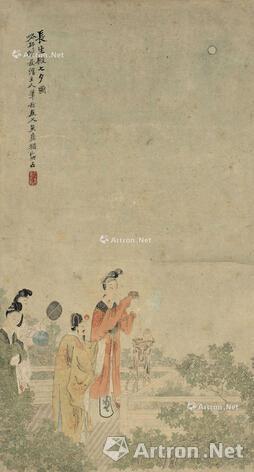 吴友如《长生殿七夕图》 立轴设色纸本60×32cm