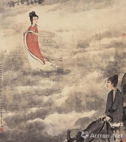 傅抱石甲申(1944年)作《七夕》 立轴设色纸本61.3×54cm