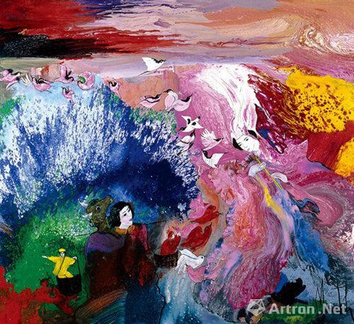 马克2007年作《鹊桥之恋》 布面油画195×180cm