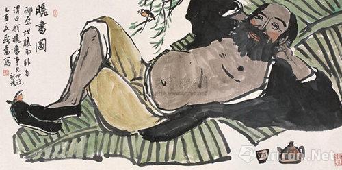 刘斯奋乙酉(2005)年作《晒书图》 镜心设色纸本69×137cm