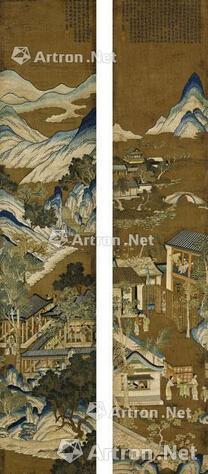 清乾隆刺绣七夕晒衣图挂幅一对50.8×248cm
