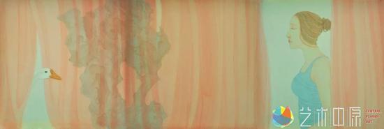 《眸》  绢本设色  45×135cm  2016年  林炜杰