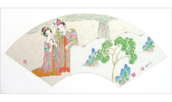 簪花图(扇面1)2009年 韦红燕