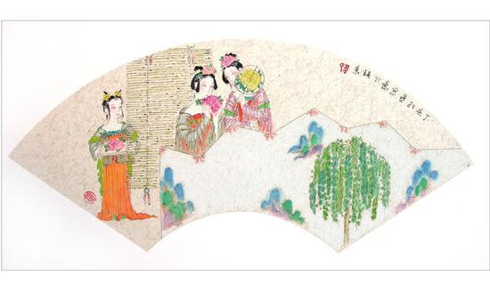簪花图(扇面2)2009年 韦红燕