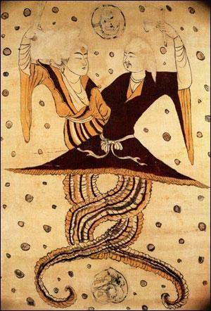 唐代壁画上的伏羲女娲图