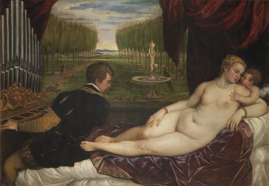 提香的作品《维纳斯和风琴师及丘比特》