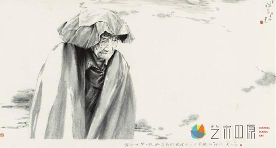 丁中一  中国美术家协会会员、河南省美术家协会第五届顾问<br /> 《往昔》中国画 180x96cm