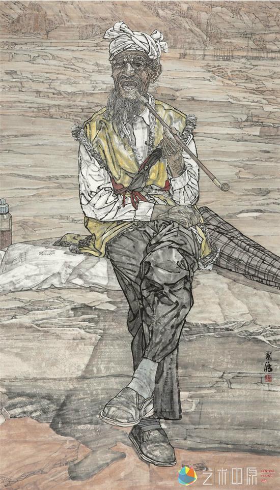 马国强 中国美术家协会理事、河南省美术家协会名誉主席  <br /> 《老河》 中国画 180x98cm