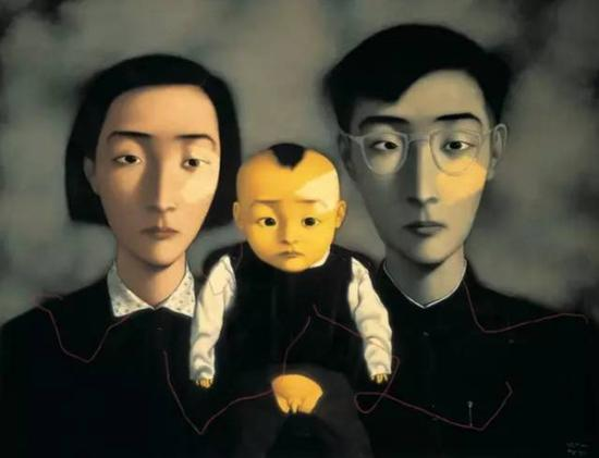 ▲ 张晓刚 《血缘:大家庭2号》 1995年