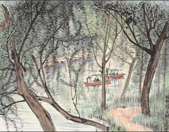 李可染《颐和园后湖》 1954年 37.5cm×44cm