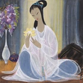 林风眠《拈花仕女图》,成交价66.7万元(上海泓盛)