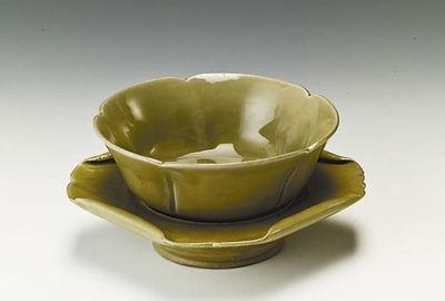 越窑青瓷荷叶带托茶盏