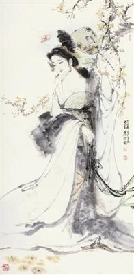 白伯骅《持扇仕女》,成交价6.9万元(广州皇玛拍卖)