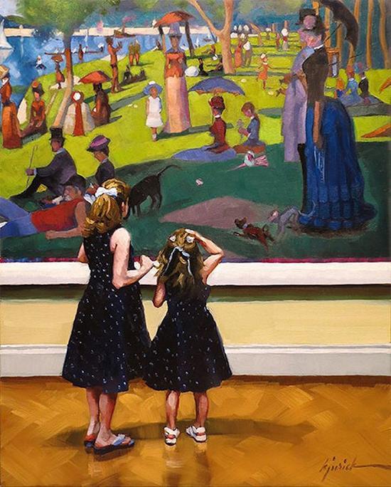 两个女孩在欣赏修拉画作