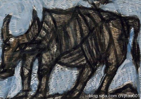 2014年匡时春拍熊秉明纸本《水墨水牛》,31.5×44厘米,成交于8.05万元