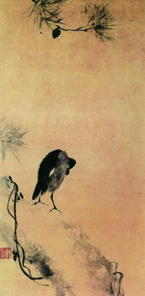 叭叭鸟图(国画) 南宋 牧溪 日本国立美术馆藏