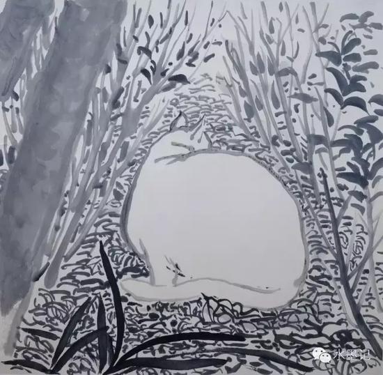 潘凯章《尘外·三》33cmX33cm 纸本水墨  2012
