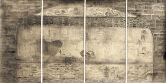 黄方启《古趣》 纸本水墨 68×134cm  2013