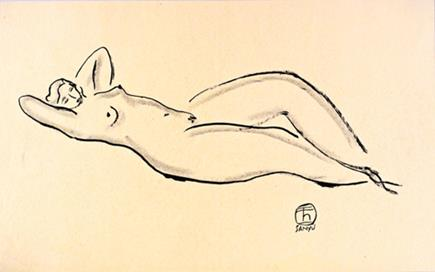 《闲适》    1920/30 年代作,水墨、炭笔纸本, 27.7 x 44.4 公分