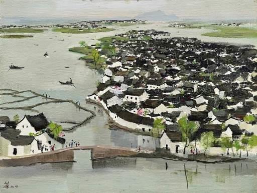 吴冠中( 1919 – 2010),《鲁迅故乡》    1977 年作,油彩木板, 46 x 61 公分