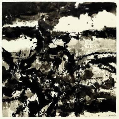 赵无极,《构图》    1984 年作,水墨纸本, 103.8 x 103.4 公分