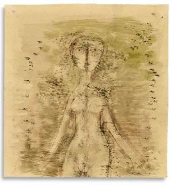 赵无极,《无题》    1950 年代作,水墨、水彩纸本, 36 x 33.8 公分