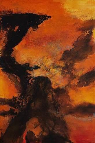 赵无极,《 20.12.85》    1985 年作,油彩画布,195 x 130 公分