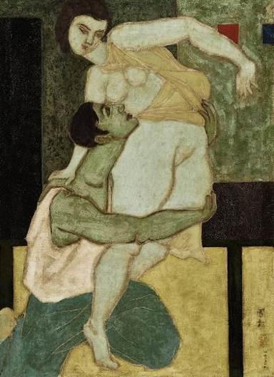 刘国松( 1932 年生),《舞》    1958 年作,油彩画布, 75 x 52 公分